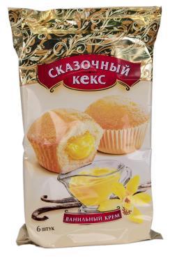 Кексы Мини-маффины ваниль 6шт., Сказочный, 200 гр., Флоу-пак