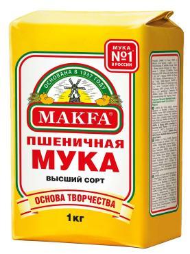 Мука пшеничная высший сорт, Макфа, 1 кг., бумага