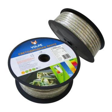Светодиодная гибкая герметичная лента, в ПВХ трубке, упаковка - бобина 50 м., IP67, угол излучения 120, кратность резки 1 м., теплый белый свет, ULS-Q325 2835-60LED/m-10mm-IP67-220V-6W/m-50M-WW, Volpe