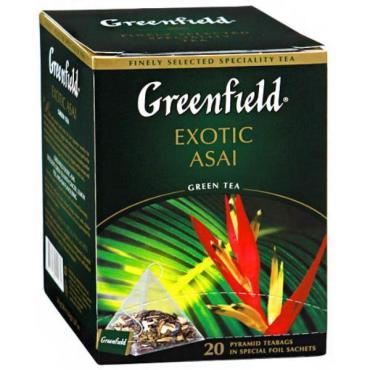 Чай Greenfield Exotic Asai зеленый в пирамидках