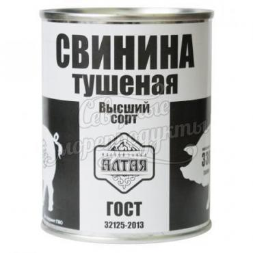 Свинина тушеная в/с ГОСТ 32125-2013 Мясозавод Алтая, 338 гр., жестяная банка