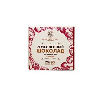 Шоколад Мастерская настоящего вкуса молочный 54% на меду (С вишней)