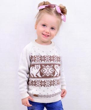 Джемпер для девочки, 28-98-104, белый, коричневый, Golden Kids, Балу, Россия, 220 гр., пластиковый пакет