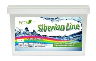 Стиральный порошок для стирки цветных тканей Siberian Line, 1,3 кг., пластиковый контейнер