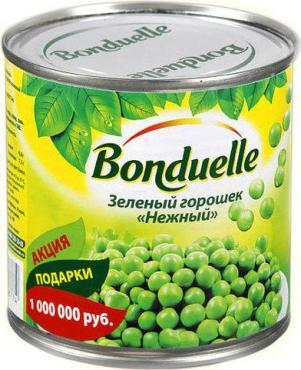 Горошек зелёный Bonduelle Нежный, 425 гр., ж/б