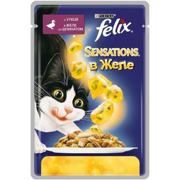 Корм влажный для кошек с уткой в желе и шпинатом Felix 85 гр. Дой-пак
