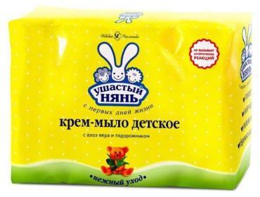 Крем-мыло Ушастый Нянь с Алоэ Вера и Подорожником, 4 шт., 100 гр., пластиковый пакет