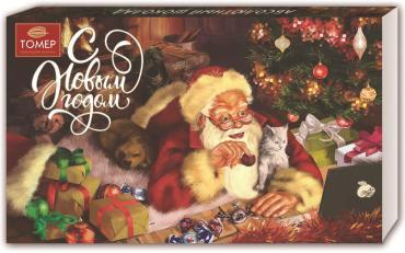 Набор шоколадных конфет Дед мороз с подарками Томер 250 гр., Картонная коробка