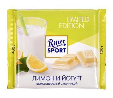 Шоколад белый Ritter Sport белый с Йогуртом и Лимоном