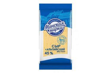 Сыр твердый 45%, Минская марка, Альпийский экстра 200 гр., флоу-пак