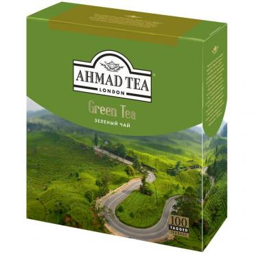 Чай в пакетиках Ahmad Tea Green Tea, 200 гр., картонная коробка