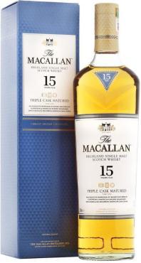 Виски шотландский односолодовый выдержка 15 лет Macallan Тriple Cask Matured 43 %, 700 мл., картонная коробка