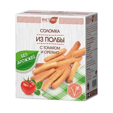 Соломка из полбы томат и орегано без дрожжей, Вастэко, 150 гр., картонная коробка
