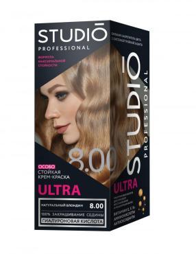 Краска для волос стойкая, для седых волос, 8,00 Натуральный блондин Studio Professional 115 мл., Картонная коробка