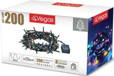 Гирлянда электрическая с контроллером, 200 ламп, длина 20 м., свет мультиколор, Vegas Нить, 375 гр., картонная коробка