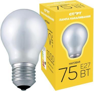 Лампа накаливания колба матовая, БМТ 75 Вт, Е27, Старт 24 гр., картонная коробка