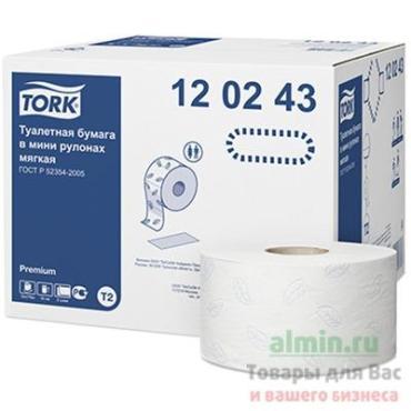 Бумага туалетная 170 м., Система Т2, 12 штук, 2-слойная, белая, Tork Premium, пластиковая упаковка