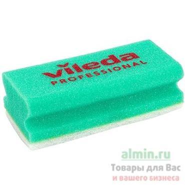 Губка профилированная 150х70 мм., с белым абразивом поролон зеленый Vile a