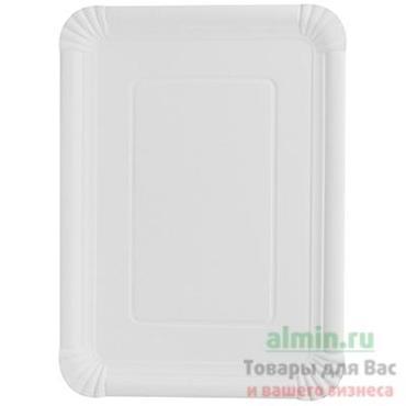 Тарелка картонная органическая квадратная 21,5 см. х 29 см., белая Papstar