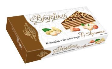 Торт вафельный с арахисом Азбука шоколада Вкуснель, 220 гр., картонная коробка