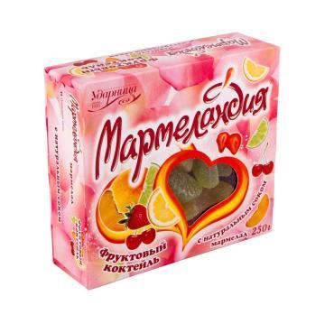Мармелад Фруктовый коктель Ударница Мармеландия, 250 гр., картонная коробка
