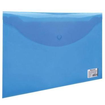 Папка-конверт с кнопкой А4, до 100 листов, прозрачная, синяя, 0,15 мм. Brauberg