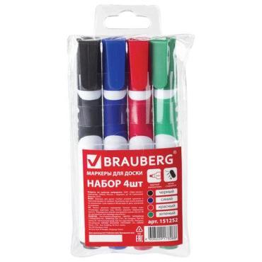 Маркеры для доски, 4 шт., ассорти, резиновая вставка, круглый наконечник, 5 мм.,  Soft, Brauberg, пластиковая упаковка