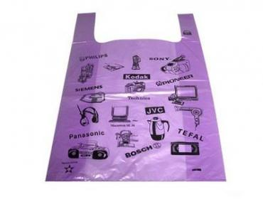 Майка-пакет 30х55 см., пнд 16 мкм., фиолетовый с рисунком 100 шт., Elektronika