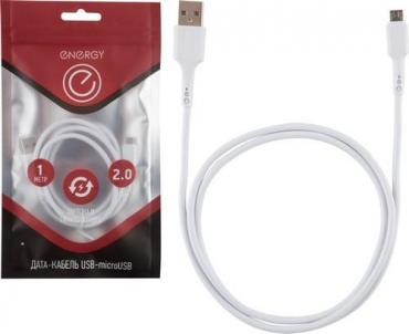 Кабель ET-05 USB/MicroUSB белый Energу, пластиковый пакет