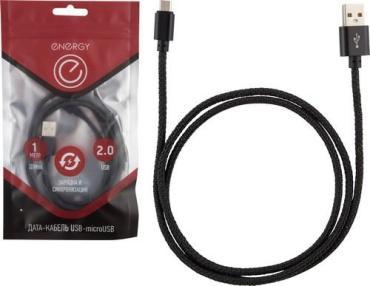 Кабель ET-02 USB/MicroUSB черный Energy, пластиковый пакет