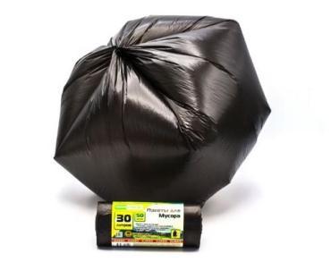 Мешки для мусора черные 30 литров MIRPACK Classik,бумажная упаковка