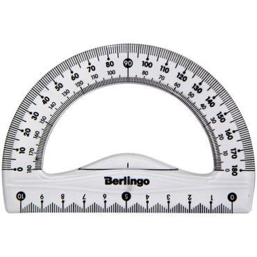 Транспортир 10см, 180° Berlingo Spike, прозрачный, европодвес