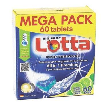 Таблетки для посудомоечных машин с ароматом лайма, 60 шт., Lotta All in 1 Premium, 1,3 кг., картонная коробка