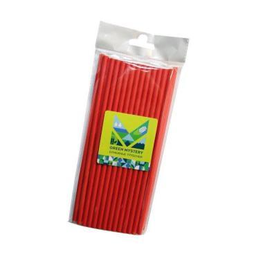Трубочки одноразовые бумажные Green Mystery Red цвет красный d=6 мм., L=195 мм., 40 штук, Китай, 40 гр., пластиковый пакет