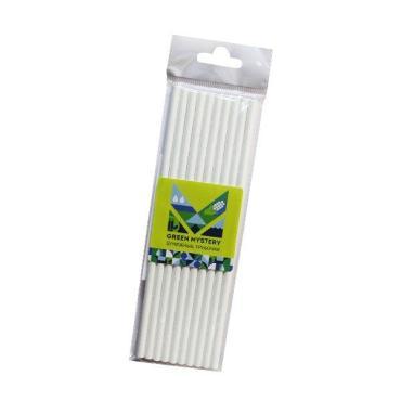 Трубочки одноразовые бумажные Green Mystery White цвет белый d=6 мм L=195 мм, 10 штук, Китай, 20 гр., пластиковый пакет