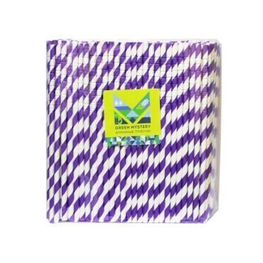 Трубочки бумажные с изгибом, полоска, цвет фиолетово-белый, d=6 мм L=195 мм, Green Mystery Фуксия, 250 шт/уп, пластиковый пакет