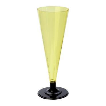 Фужер для шампанского, 180 мл., желтый, черная ножка, ПС, 6 шт.