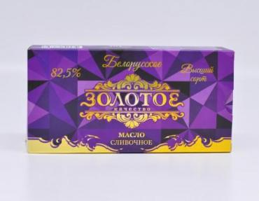 Масло сливочное 82,5% традиционное Золотое качество, 500 гр., картонная коробка
