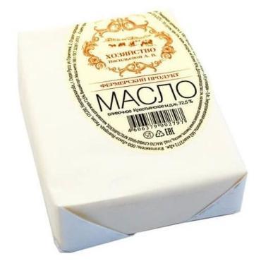 Масло сливочное ж. 72,5%, Хозяйство Васильевой Крестьянское, 180 гр., пергамент