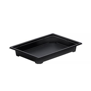 Контейнер для суши прямоугольный черный 400 мл, внешн 182х127х20 мм, внутр 160х105х20 мм, полистирол, Комус, 420 шт/уп