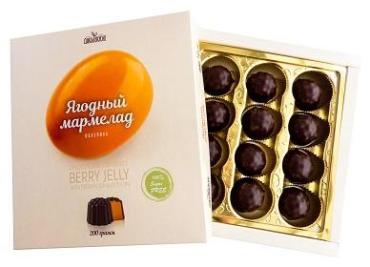 Мармелад облепиховый в шоколадной глазури,без сахара, 200 гр, картон
