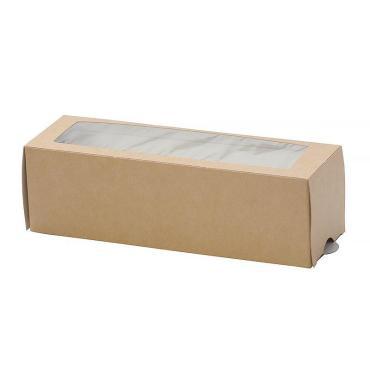 Коробка для макарони с окном коричневая 180х110х55 мм, Do ECO МВ 12, 300 шт/уп