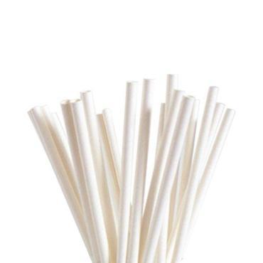 Трубочки бумажные, цвет сплошной белый d=6 мм., L=195 мм., 250 шт., Уайт, пластиковый пакет