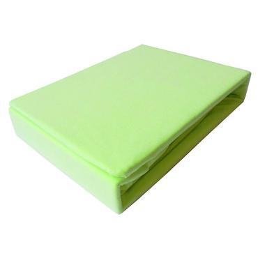 Простыня трикотажная на резинке 200*200 100% хлопок, плотность 145 гр., салатовая, пластиковый пакет