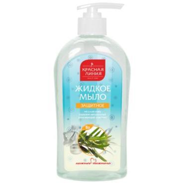 Жидкое мыло Защитное с антибактериальным действием, Красная Линия, 1 л., пластиковая бутылка