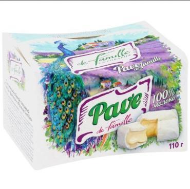 Сыр мягкий с белой плесенью, 50%, Pave de famille, 110 гр., картонная коробка