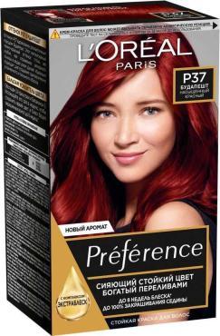 Краска для волос, насыщенный красный L'Oreal Preference Р37 Будапешт, 174 мл., картонная коробка