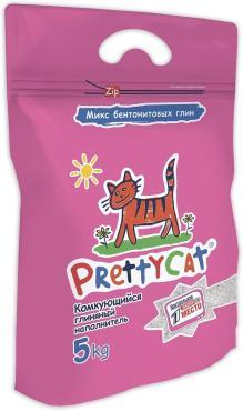 Наполнитель для кошачьего туалета, комкующийся, PrettyCat Euro Mix 5 кг., пластиковый пакет
