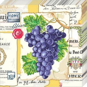 Салфетки 33*33 см. 3-хслойные, 20 шт. Art Bouquet Виноград, полиэтиленовая пленка