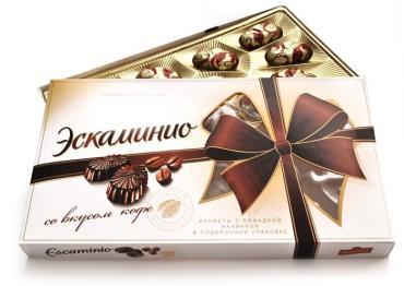 Конфеты со вкусом кофе Спартак Escaminio, 141 гр., картонная коробка